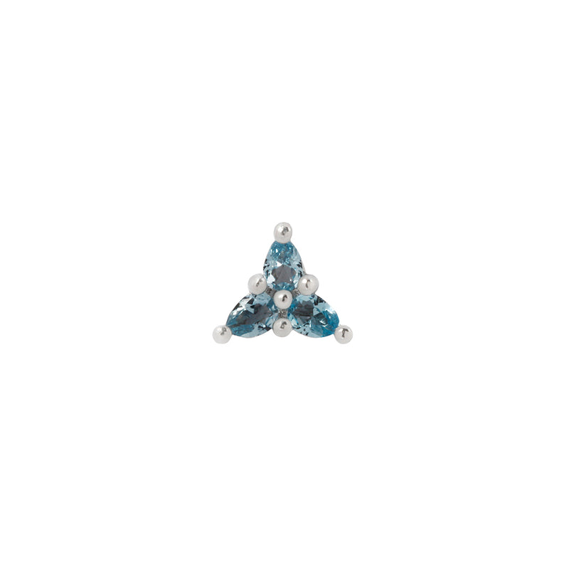White gold pear cut London Blue Topaz cluster