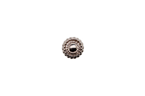White gold round beaded disk stud
