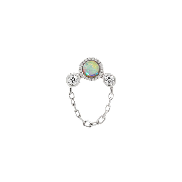 White opal Swarovski white gold piercing with chain