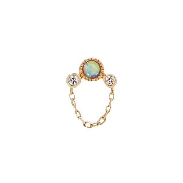 White opal Swarovski yellow gold piercing with chain