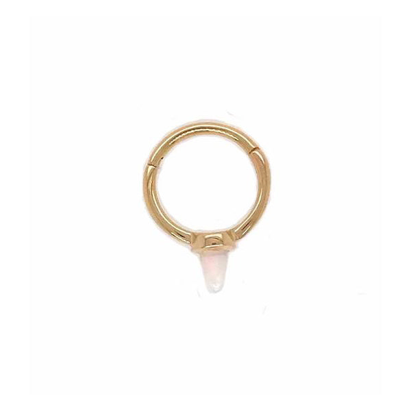 Maria Tash Single Spike Clicker White Opal Yellow Gold 18g 5/16''
