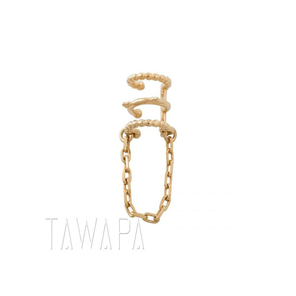 Tawapa Chained Love Ear Cuff  Plated Yellow Gold