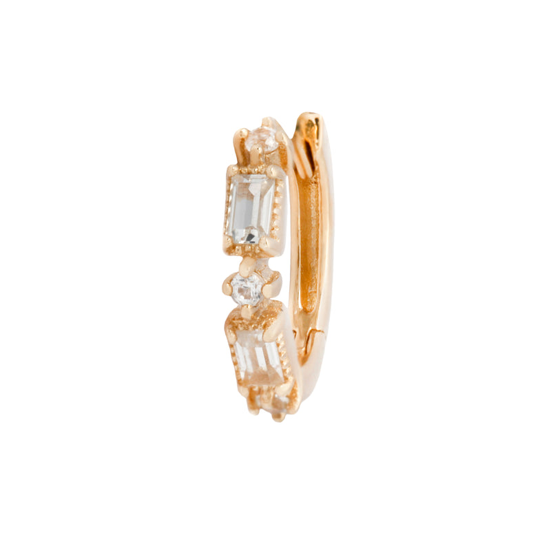 Yellow gold Euphoria huggie clicker with white sapphires by Buddha Jewelry