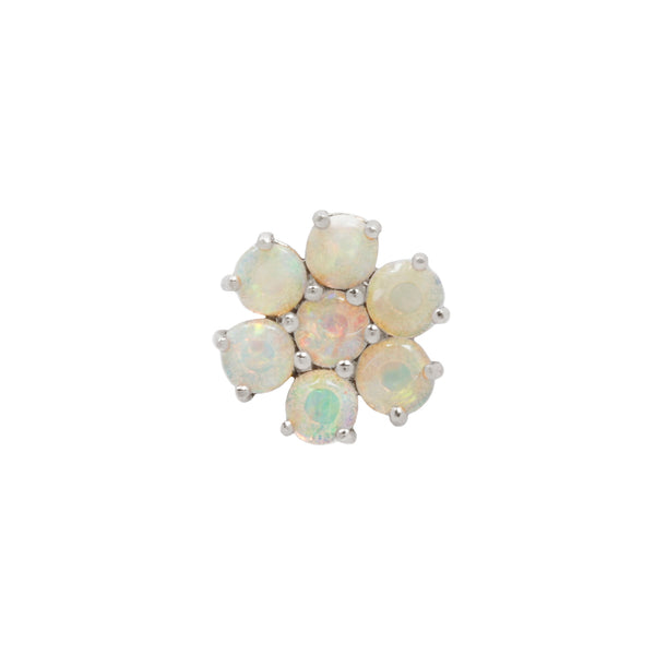 opal flower white gold piercing