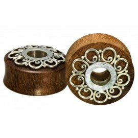 Wood plugs with silver details