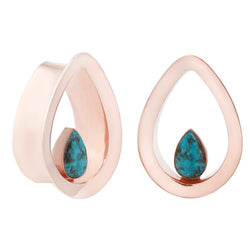 Teardrop Eyelets with a turquoise inlay for stretched ears