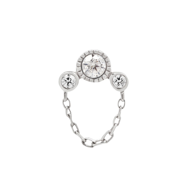 White gold CZ arc cluster with chain