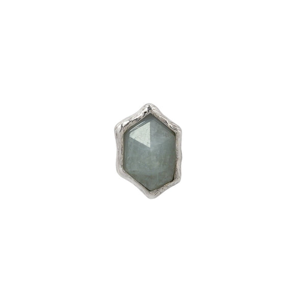 White gold rough shaped aquamarine