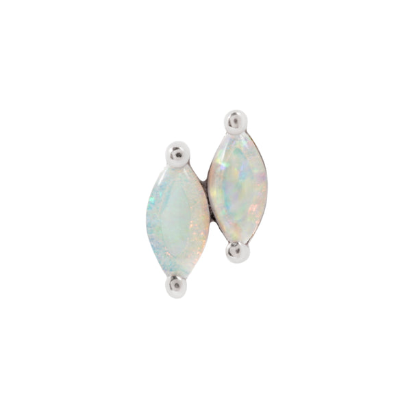 White gold double white opal Zuri by Buddha Jewelry