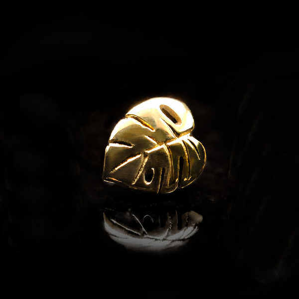 Yellow gold monstera leaf stud