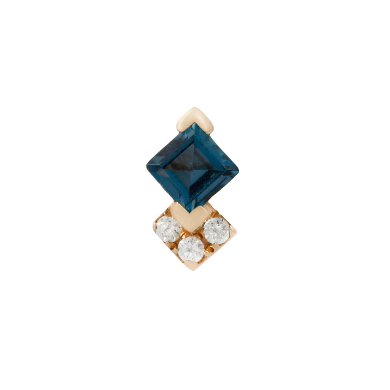 Yellow gold Vivienne London Blue Topaz and CZ's by Buddha Jewelry