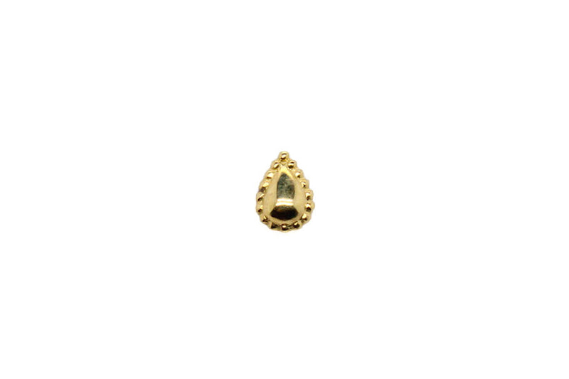 Yellow gold beaded pear stud