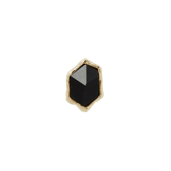 Yellow gold rough shaped black agate