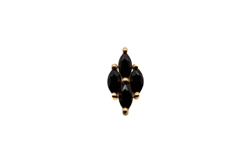 Yellow gold black spinel cluster