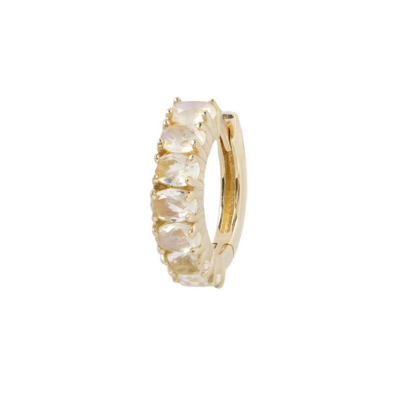 Yellow gold blue moonstone clicker huggie