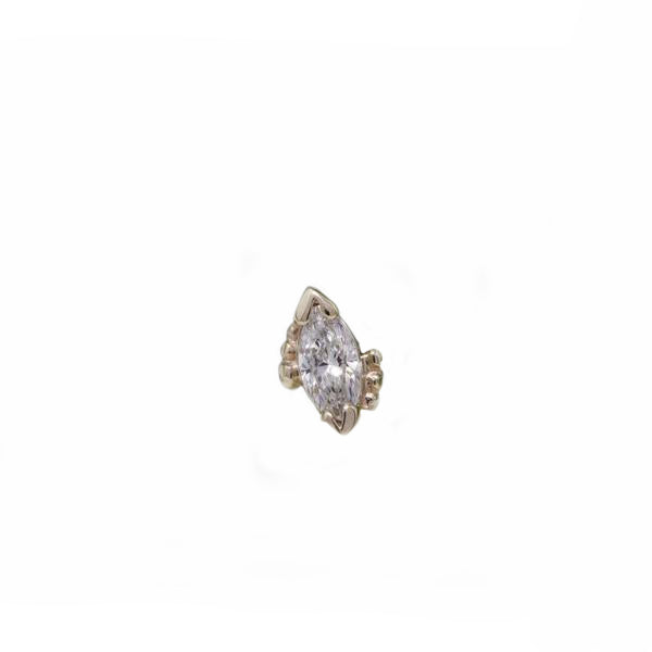 BVLA Threadless Beaded Marquise CZ Rose Gold  4.0 mm x 2.0 mm