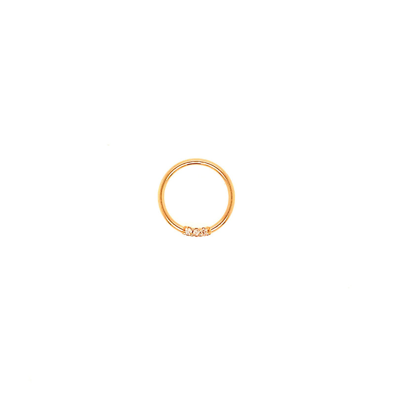 Fixed Ring 3 Gem Genuine Diamond Yellow Gold 18g 3/8""