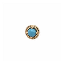 BVLA Threadless Prong Millgrain Turquoise Yellow Gold 3.0 mm