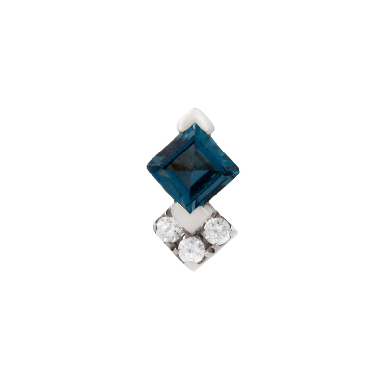 White gold Vivienne London Blue Topaz and CZ's by Buddha Jewelry