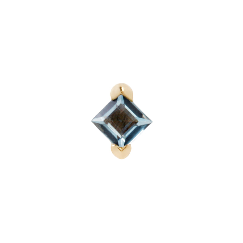 Yellow gold with london blue topaz