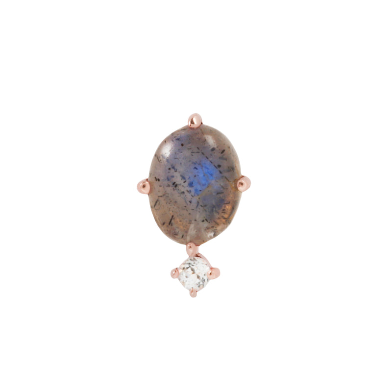 Rose gold Descendant labradorite with white topaz by Buddha Jewelry