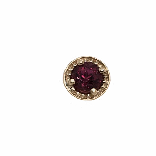 BVLA Threaded Prong Millgrain Rhodolite Yellow Gold 16g 4.0 mm