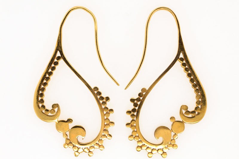 Brass earrings with disks