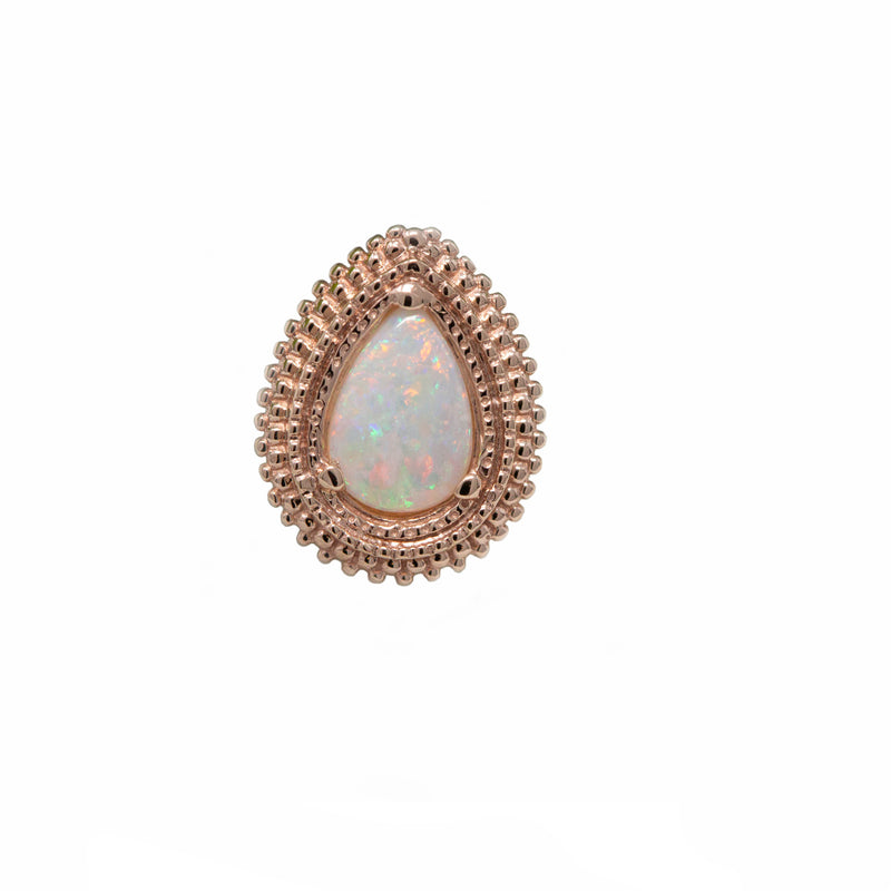 BVLA Threaded Pear Afghan White Opal AAA Rose Gold 12g 6.0 mm x 4.0 mm