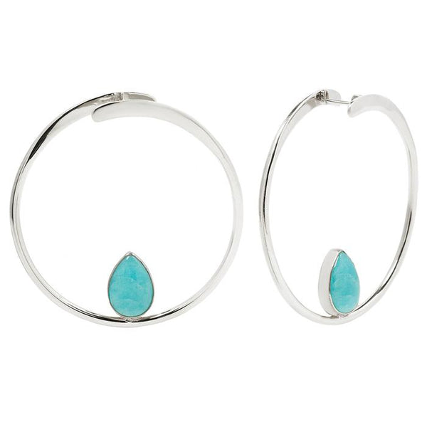 silver hoop with amazonite center stone