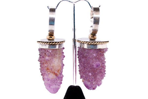 Amethyst and silver ear weights