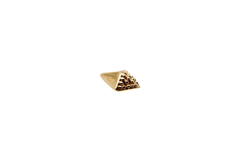 Yellow gold beaded pyramid stud side view