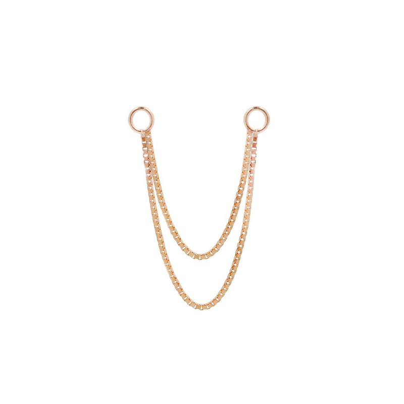 Double box chain in rose gold