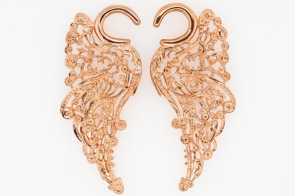 Rose gold Angel Wing ear weights