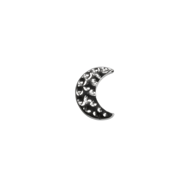 White gold small hammered moon