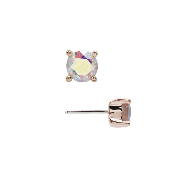 Rose gold mercury mist prong stud