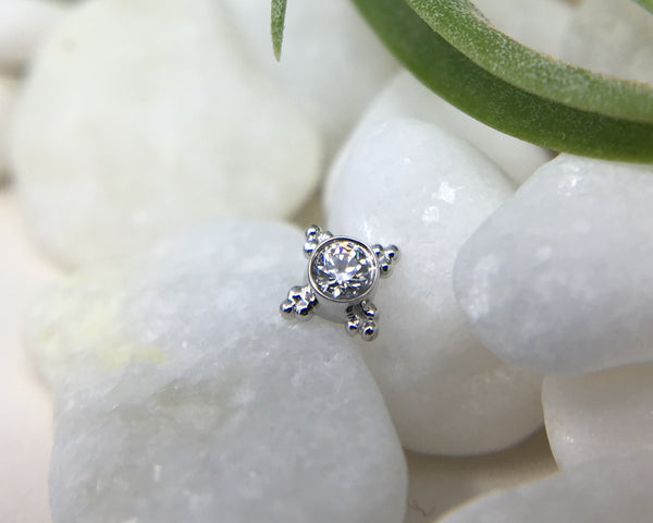 White Gold Mini Kandy with CZ and beaded detailing