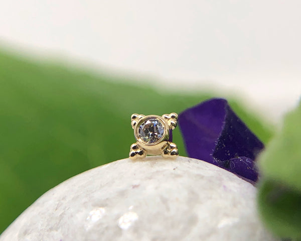 Yellow Gold Mini Kandy with CZ and beaded detailing