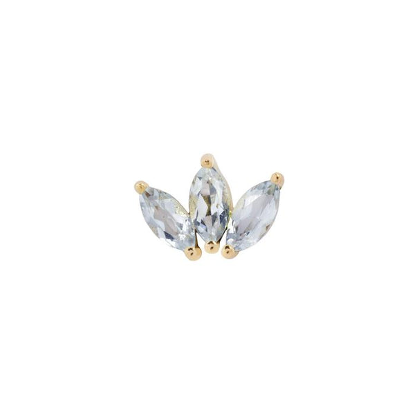 Yellow gold marquise fan piece by Buddha Jewelry in sky blue topaz