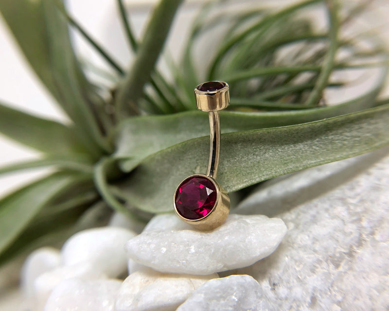 Ruby Belly Button Ring in Gold