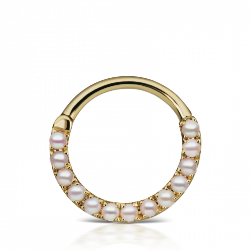 Yellow gold pearl clicker