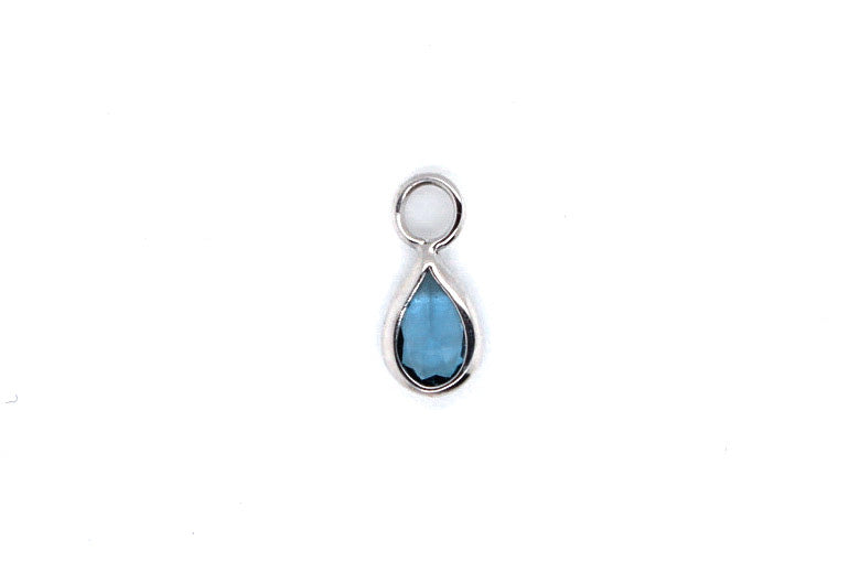 White gold london blue topaz teardrop charm