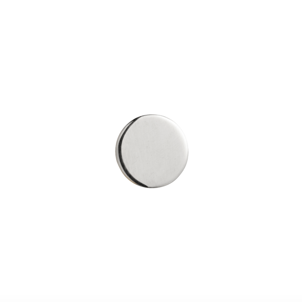 Simple white gold disk stud