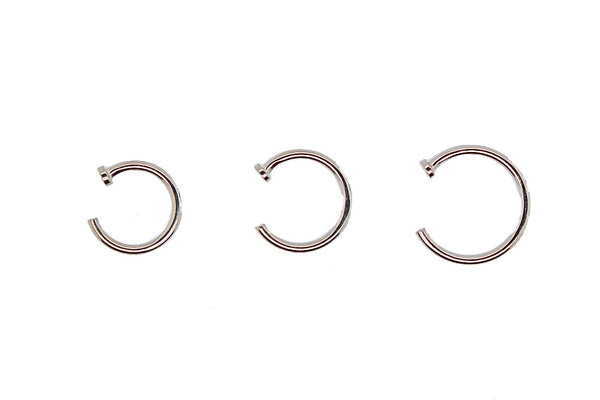 White gold nostril nails with flat disk