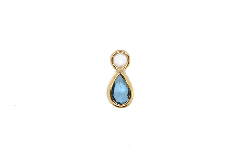 Yellow gold london blue topaz teardrop charm