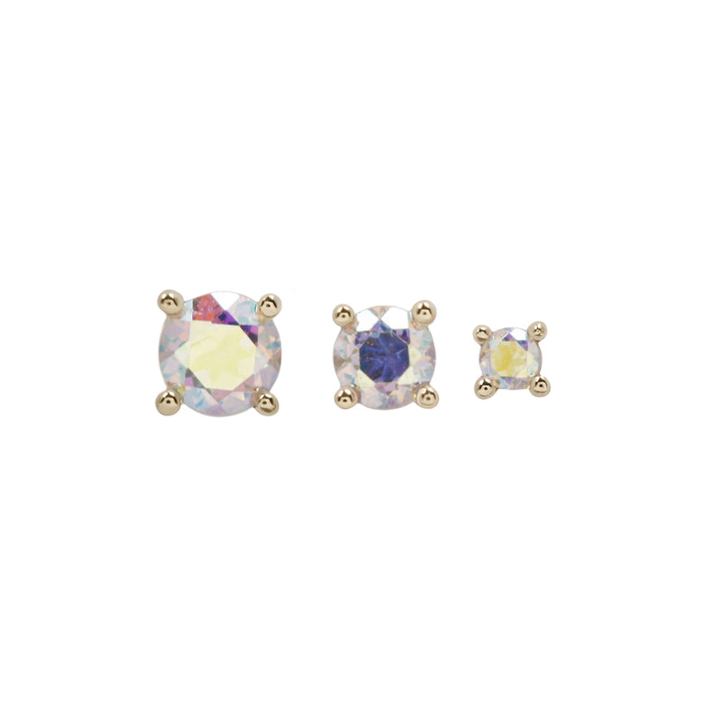 Yellow gold mercury mist prong stud