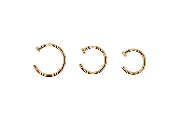 Yellow gold nostril nails with flat disk