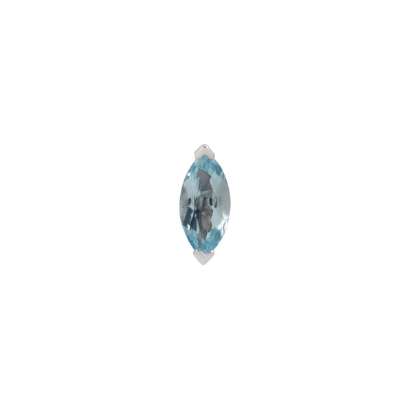 White gold with marquise cut Sky Blue Topaz stud
