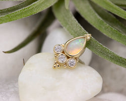 BVLA Threadless Pear Sarai White Opal w/ CZ Accents