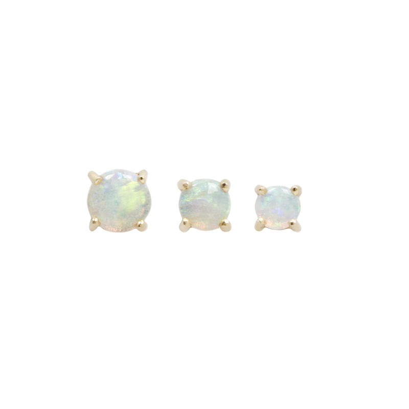 Buddha Threadless Prong Cabochon White Opal Rose Gold- DEACATIVE