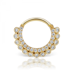 Yellow gold and CZ Apsara clicker
